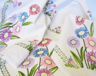 "Vintage Linen Hand Embroidered Tablecloth, Pink, Blue and Lilac Daisies, 42.5"" x 40"""