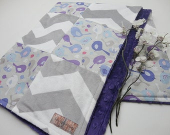 Purple and Gray Bird Patchwork Baby Blanket - Cotton and Minky - Ready to Ship