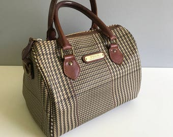 ireland polo ralph lauren vintage purses 2108a fa4f1  good vintage polo  ralph lauren plaid houndstooth tweed doctor bag boston bag satchel purse  b79ff 941c3 d57218669b