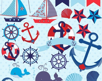 Nautical clipart, nautical clip art, boat clipart, anchor clipart, bunting clipart, whale clipart, beach clipart, Commercial Use,  AMB-522