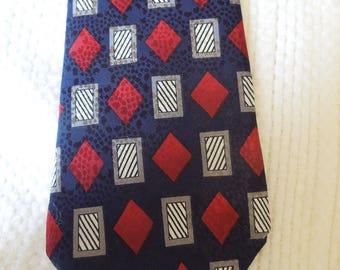 100% silk Italian necktie, 417, Van Heusen brand, mens accessory, geometric, blue, red, white, gray, prof. cleaned/pressed