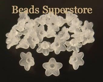 10 mm x 5 mm White Lucite Flower Bead - 60 pcs