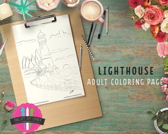 Lighthouse Downloadable Coloring Page - Printable Lighthouse Landscape Coloring Page - Landscape Adult Coloring Page