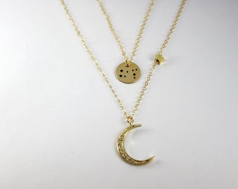 Gold Zodiac Sign Necklace,Astrology Necklace, Gypsy Astrology Jewelry, Gold Sun Star necklace, Gold filled Constellation Necklace,2 Layered