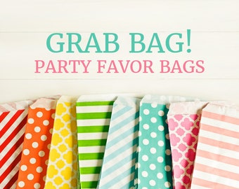 Grab Bag! 40 Paper Bags 5x7 - Surprise Mystery Assortment - Rainbow Party Favor Packaging Gift Wrapping Wedding Holiday Sacks Merchandise