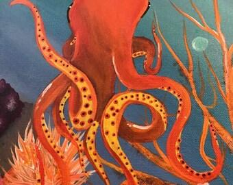 Octopus Acrylic Painting (12x12)