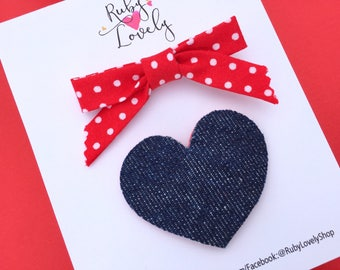 Baby/Girls Summer Clips, Red White Bow, Blue Hair Clips, Snap Clips, Denim Clip, Heart Clips, Red Hair Clips, Red White Blue Clips, Clip Set
