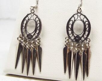 Vintage / Sterling Silver Filigree Wire Dream Catcher Hook Drop Dangle Earrings