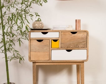 Design convenient wood 5 colored drawers
