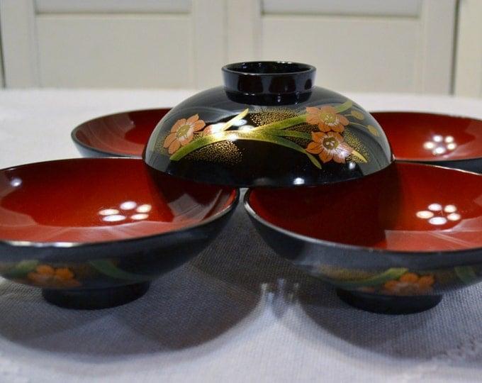 Vintage Lacquer Rice Bowl Set of 5 Black Red Floral Design Small Bowl Dips Sauces PanchosPorch