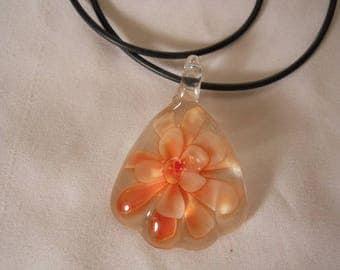 Blown Glass Lampwork Floral Flower Necklace Fashion Jewelry FJW177