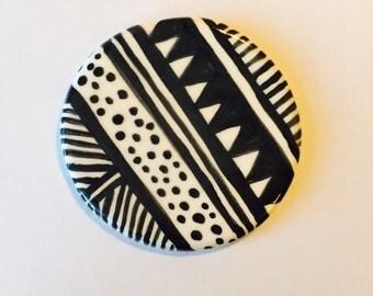 Handpainted Ceramic Brooch - Geometric Pattern - Monochrome
