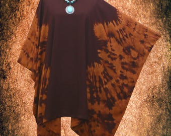 Symmetric Bleach Rusty Hand dyed Artwork Blouse Cover Up Poncho Top Tunic