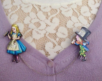 Alice in Wonderland sweater guard, brooch, tea time, tea party, vintage, whimsical, through the looking glass, Mad Hatter, jewelry, gift