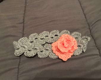 Crochet flower headband