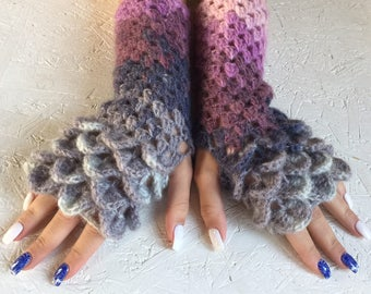 crochet gloves Fingerless crocodile stich women fingerless gloves dragon scale crochet women's gloves women's Arm Warmers  gift Accessory