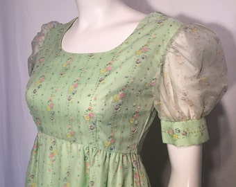 Vintage 70s Seventies Prairie Style Green Short Sheer Puffy Sleeve Long Prom Dress Empire Waist Pink Blue Flowers XS Extra Small Wedding
