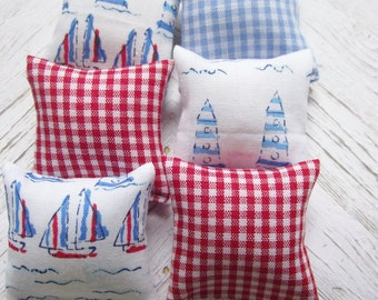 Miniature doll house 12th scale sofa or scatter cushion pack nautical design and gingham prints