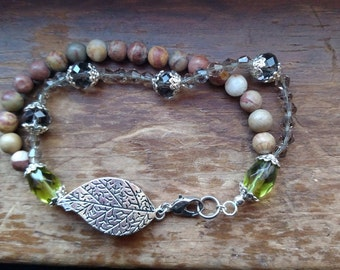 Rainbow Jasper and crystal duel stand bracelet with leaf focal