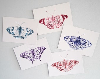 Set of 10 butterfly postcards