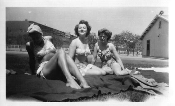 Vintage Photo..Sun Maidens, 1940's Original Found Photo, Vernacular Photography