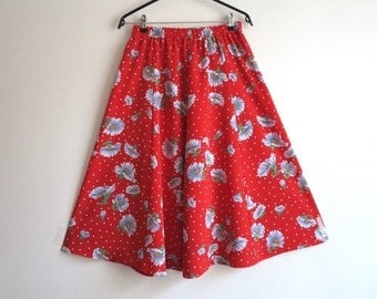 Hot Red Floral Print Midi Skirt  Elastic Waist Summer Romantic Skirt Small Size