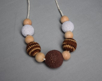 crochet necklace teething baby breastfeeding sling accessory wooden beads crochet handmade