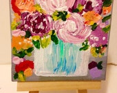 Original vintage roses oil painting mini with easel