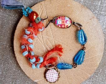 Czech glass bracelet Teal Aqua Tangerine Colorful cabochon bracelet Sari silk