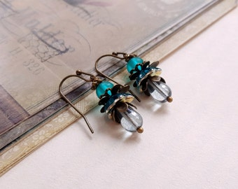 Teal and blue Czech glass flower boho earrings Dangling earrings