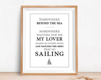 Somewhere Beyond The Sea // Art Print // Bobby Darin // Sailing // Home Decor // Gifts for Dad // Gift Idea // Song Lyrics