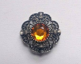 Scottish Brooch Thistle Citrine Glass Faux Cairngorm Brooch Vintage