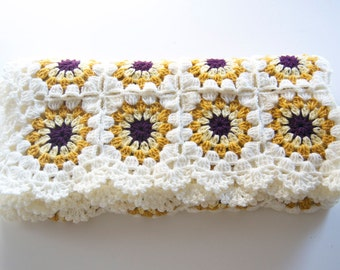 ON SALE %20 OFF Ready to Ship Baby crocheted blanket wool, white with mustard, yellow and purple color motifs,35,4''x35,4'' Square