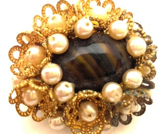 Wonderful Art Nouveau Tiger Eye Glass Stone Faux Pearl Excellent Brooch Germany