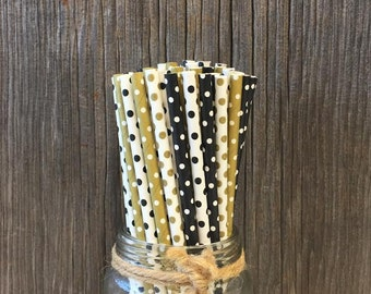 100 Black, Gold and White Polka Dot Paper Straws, Wedding, Birthday, Anniversary Party Supply, Paper Goods, Disposable Party Supply