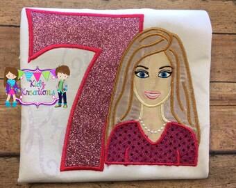 Barbie Personalized Shirt, Barbie Birthday Shirt, Barbie Shirt, Embroidered Shirt