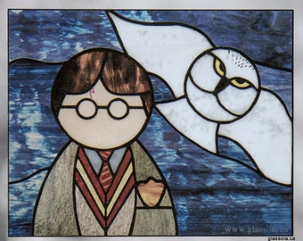 Harry and Hedwig Stained Glass Window Cling