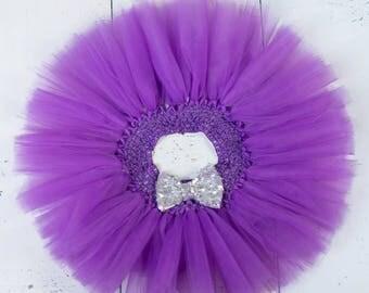 PURPLE TUTU, Purple Silver Tutu,Girls Tutu,Baby Tutu,Infant Tutu,Newborn Tutu,Toddler Tutu,Birthday Tutu with Sequin Bow,Cake Smash Tutu