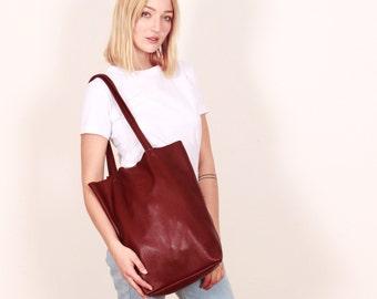Red Leather bag,burgundy bag,Leather Tote Bag,Leather hand bag,Leather purse,leather shopper
