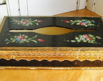 Vintage Classic Black and Gold with Hand Painted Bouquets with Roses Italian Florentine Tole Painted Wood Kleenex Tissue Box