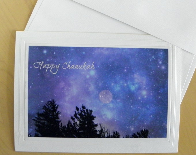 CHANUKAH CARD Set - 12 blank inside Cards with coordinating Envelopes AND Free Domestic Shipping too!