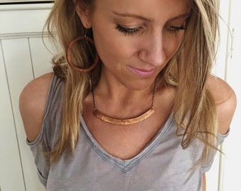 boho statement necklace -copper - boho necklace - layering