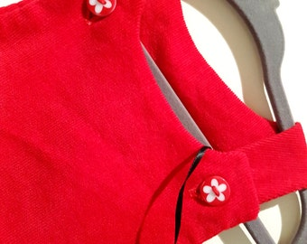 Baby Dress, Toddler Dress, Corduroy Dress, 9-12 months, Red Baby Dress