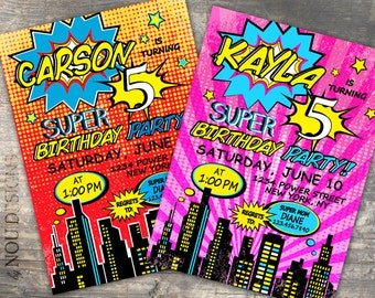 Comic Book Super Hero City Birthday Invitation Card- Printable File