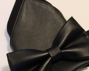 Black Faux Leather Pocket Square