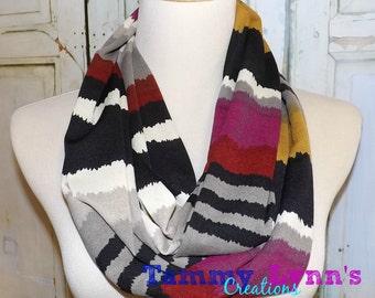 NEW!! Magenta Mustard Wavy Multi Stripe Hacci Sweater Knit Infinity Scarf Women's Accessories