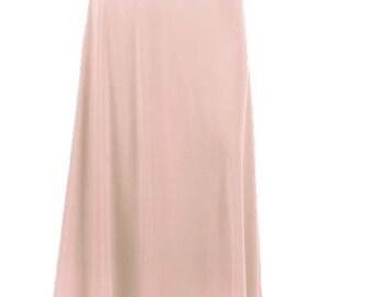 Women's Solid Blush Knit Maxi Skirt