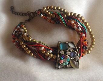 Unique Multi Stone Vintage Gemstone and Bead Bracelet - Cat's Eye Bracelet - Opal Bracelet - Bead Bracelet - Vintage Gemstone Bracelet