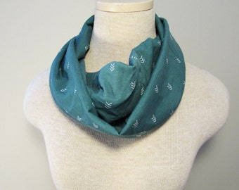 Infinity Scarf - Green Arrows Scarf - Knit Scarf