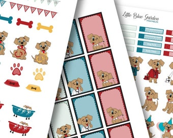 My Little Pup Color Medley: Persimmon Blossoms Planner Stickers -Instant Download, printable sticker kit, eclp stickers